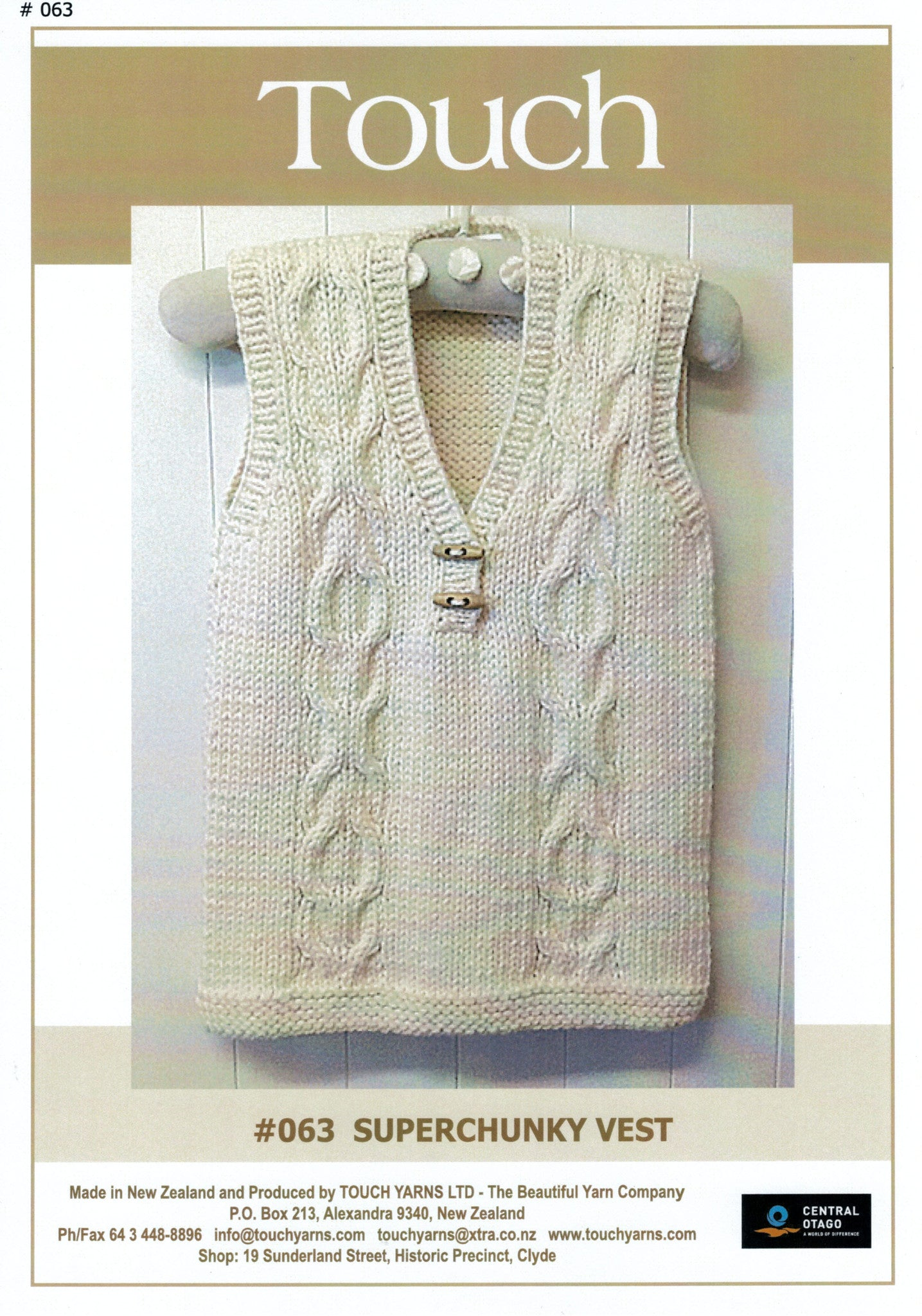 Touch Knitting Pattern - Super Chunky Vest