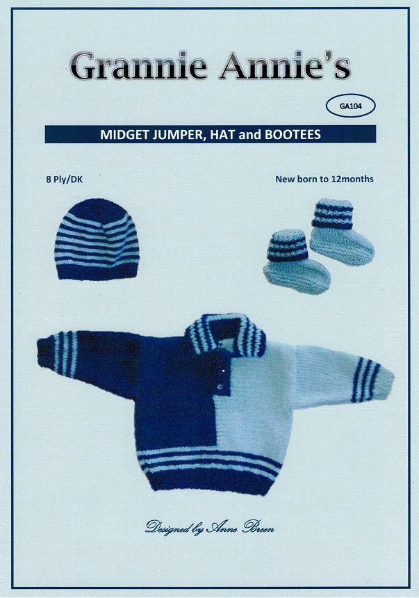 Grannie Annie Knitting Pattern 104 - Jumper, Hat and Booties in 8-ply / DK for 0-12 months