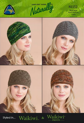 Naturally Knitting Pattern N1152 - Four Ladies hats in 4-ply / Fingering