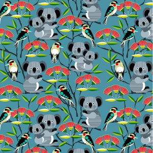 Bush Buddies - Koalas, Kookaburras & Waratah on Teal