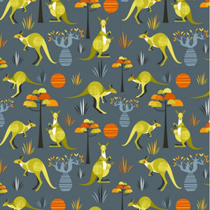 Wild and Free - Australian Graphic with Kangaroos and Australian plants on Grey background
