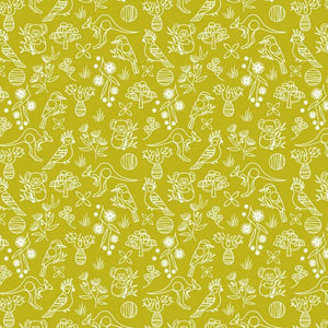 Wild and Free - Australian Graphic with Flora and Fauna outlined in white on a Chartreuse background
