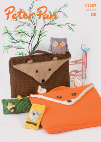 Peter Pan Knitting Pattern P1267 - Children's knitted school set - book bag, pencil case, phone cover, toy owl in 8-ply / DK