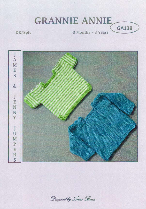 Grannie Annie Knitting Pattern 138- James & Jenny Jumpers in 8-ply / DK for 3 months to 3 years