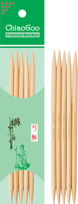 ChiaoGoo - 13 cm Double Pointed Bamboo - Natural colour