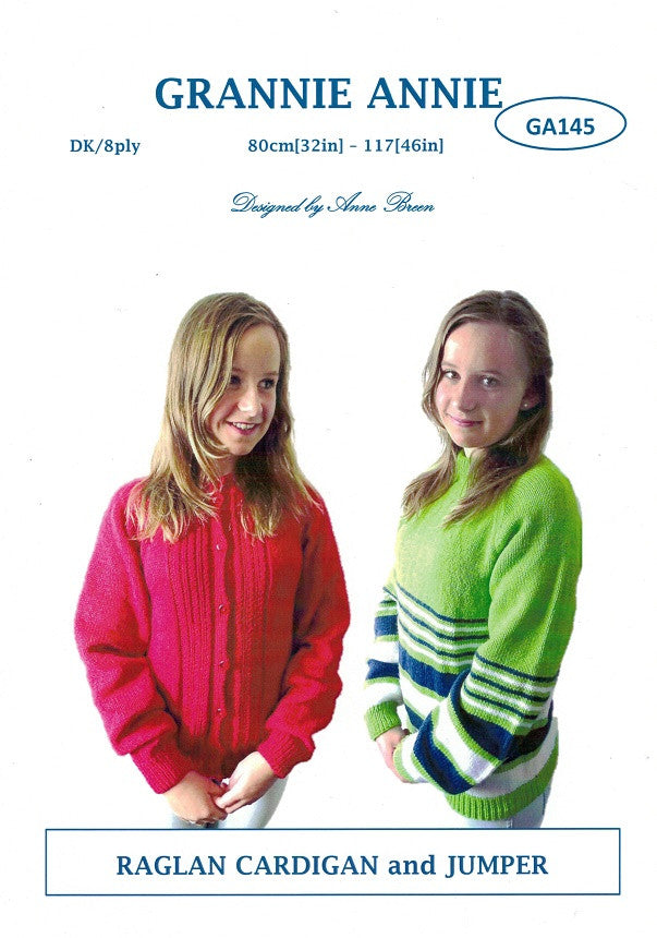 Grannie Annie Knitting Pattern 145 - Raglan Cardigan & Jumper in 8-ply / DK for Teens to Ladies