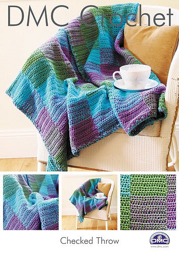 DMC Crochet Pattern - Checked Throw