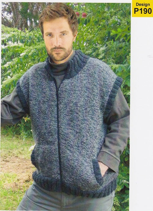 Countrywide Knitting Pattern P190 - Mens Zipped Vest with Pockets in Chunky / 14-ply