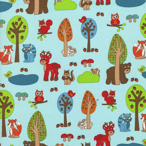 Woodland Park - Medium animals on light turquoise