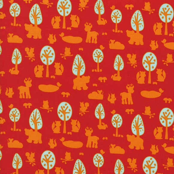 Woodland Park - Orange and turquoise designs on red