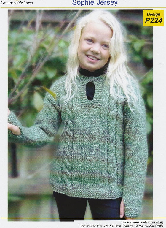 Countrywide Knitting Pattern P224 - Childs Sophie Jersey in Chunky / 14-ply for ages 1-8 years