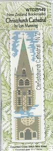 Cross-stitch bookmark - Christchurch Cathedral