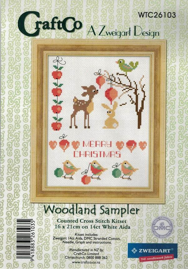 Cross-stitch kit - Christmas Woodland Sampler
