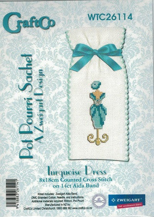 Cross-stitch Sachet Kit - Turquoise Dress
