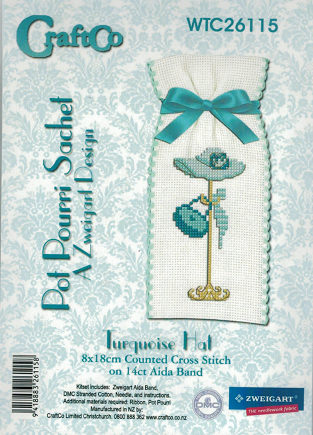 Cross-stitch Sachet Kit - Turquoise Hat