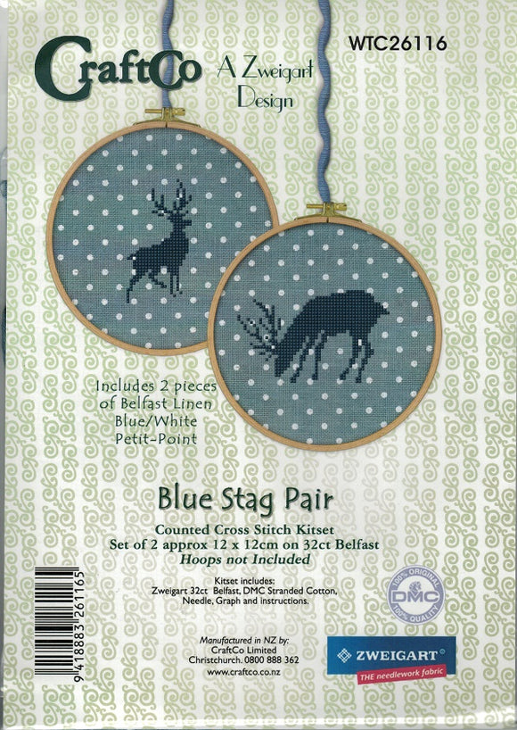 Cross-stitch kit - Blue Stag Pair on Belfast Blue Petit-Point