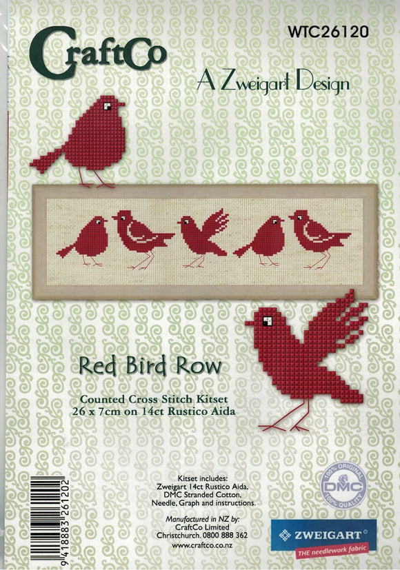 Cross-stitch kit - Red Birds on Aida Rustico