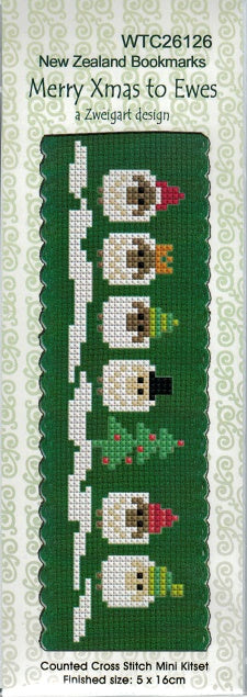Cross-stitch bookmark - Merry Christmas to Ewes