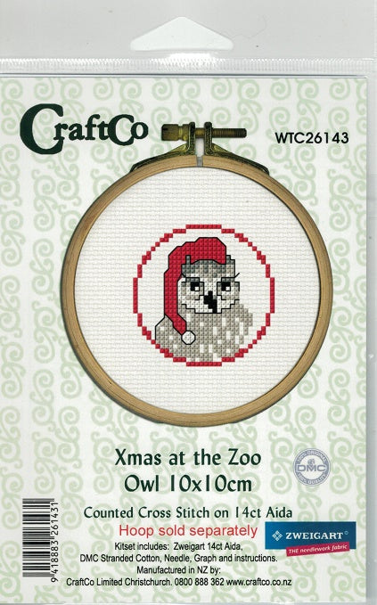 Cross-Stitch kit - Christmas as the Zoo Owl