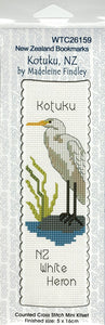 Cross-stitch bookmark - Kotuku, the New Zealand White Heron