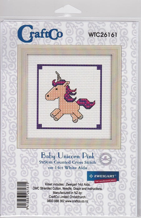 Cross-stitch kit for children - Pink Baby Unicorn