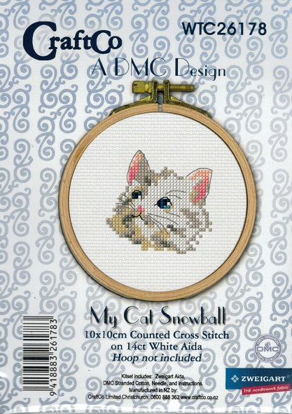 Cross Stitch Kit - My Cat Snowball