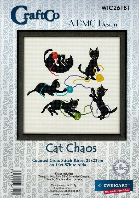 Cross Stitch Kit - Cat Chaos