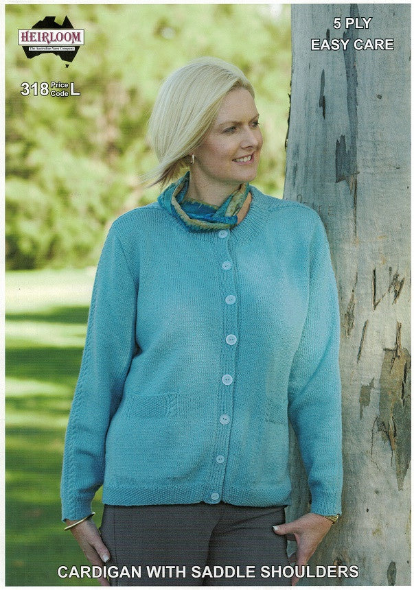 Heirloom 318 - Ladies Cardigan with moss stitch detail in 5-ply