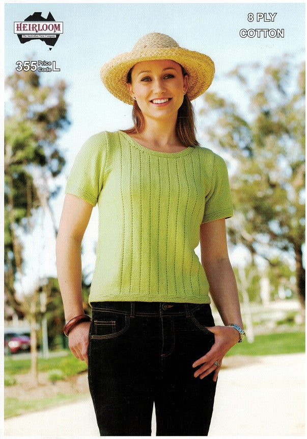 Heirloom 355 - Ladies short-sleeved pullover with subtle rib pattern in 8-ply