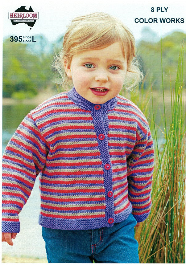 Heirloom 395 - Childrens strippy Cardigan in 8-ply