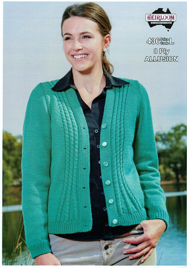 Heirloom 436 - Ladies Cardigan with subtle cabling on front in 8-ply