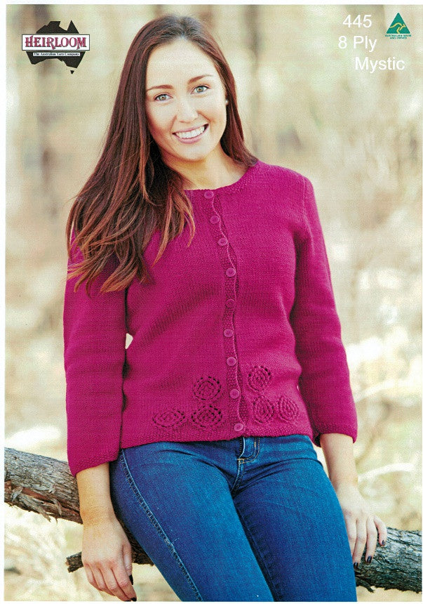 Heirloom 445 - Ladies Cardigan with subtle lace panels on front in 8-ply
