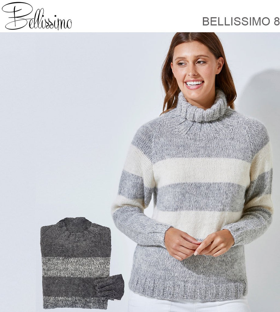 Bellissimo TX523 - Unisex Raglan Sleeved Striped Pullover in 8-ply / DK