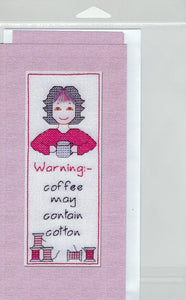 Cross-Stitch Card and Bookmark set - Warning - coffee may...