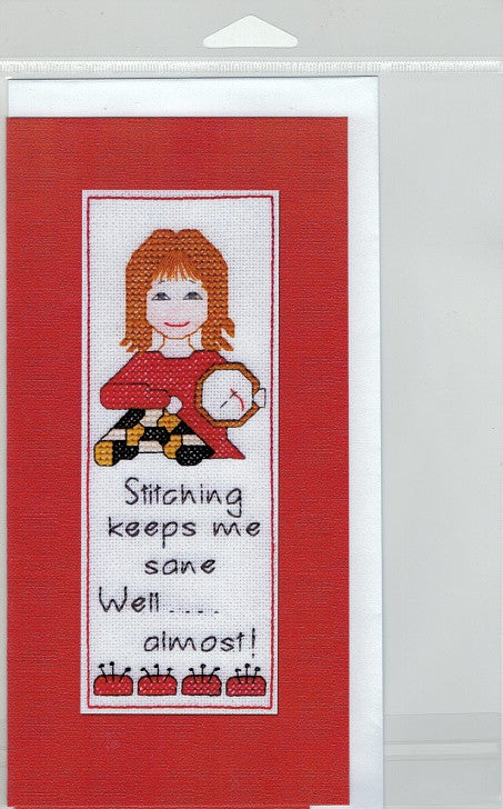 Cross-Stitch Card and Bookmark set - Stitching keeps me sane...