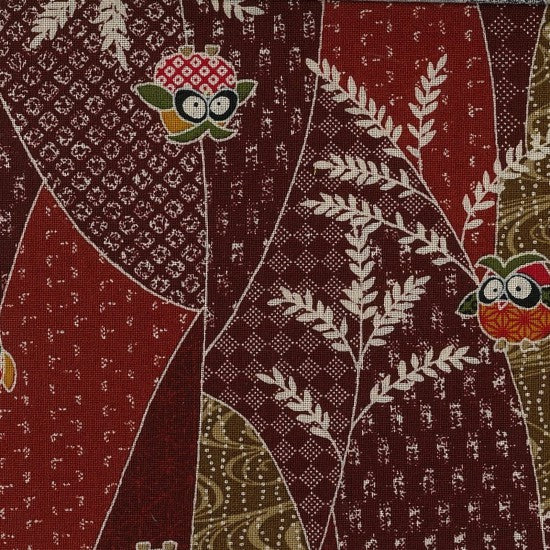 Kenko - Traditional Japanese design with Owls on Dark Reds and Rusts
