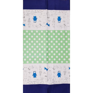 Minakoko - Forest Animal Tote bag panel in blue and green (73 cm x 110 cm each)