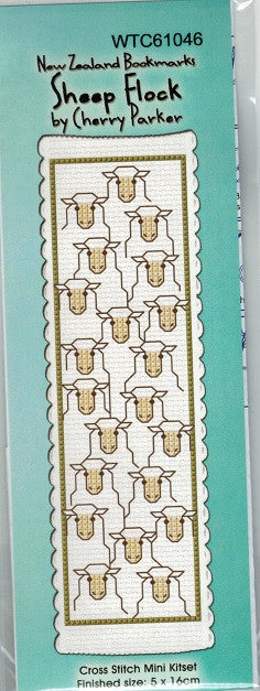 Cross-stitch bookmark - Sheep Flock