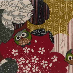Koku - Traditional Japanese design with Owls on Red, Chartreuse and Grey