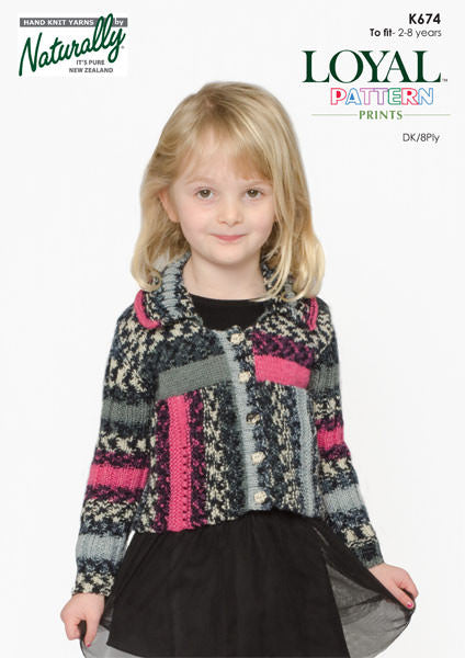 Naturally Knitting Pattern K674 - Kids Cardigan  in 8-ply / DK for ages 2-8