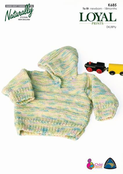 Naturally Knitting Pattern K685 - Baby Hoodie Sweater in 8-ply / DK