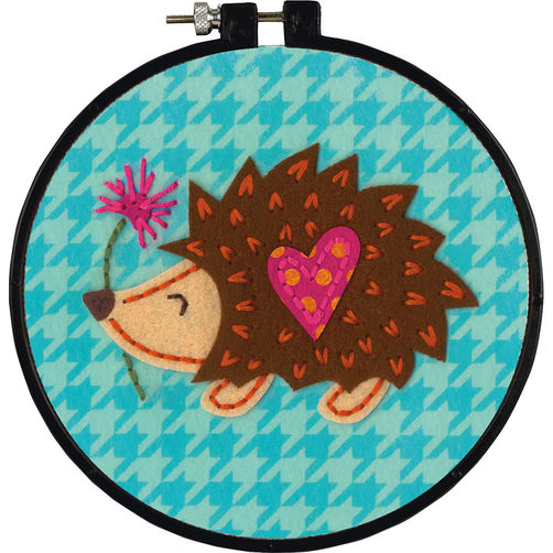Dimensions Learn A Craft Felt Applique Kit for Children - Little Hedgehog - includes 6 inch hoop
