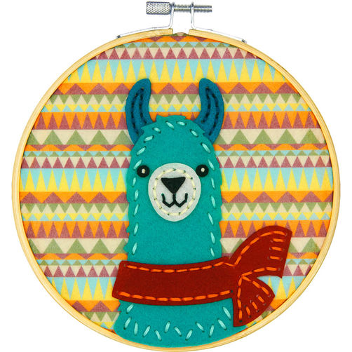Felt Applique Kit - Friendly Llama - includes 6 inch hoop