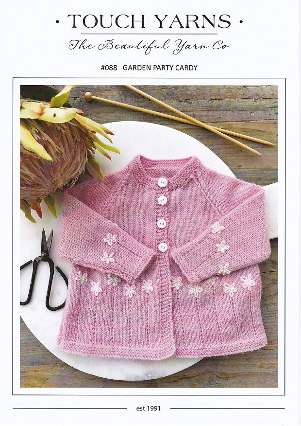 Touch Knitting Pattern 88 - Garden Party Cardy for ages 3-6 months in 4-ply / Fingering