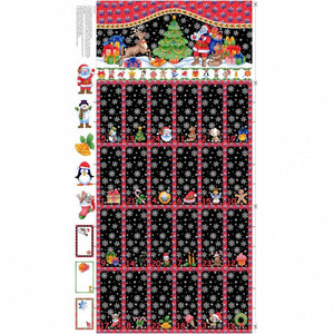 Christmas Advent Calendar (60 cm x 108 cm) - Santa and Reindeer on Snowy background