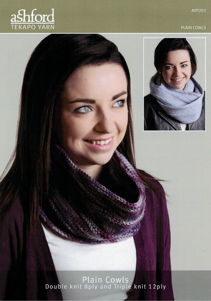 Ashford Tekapo Knitting Pattern AYP203 - Two Cowls 8-ply or 12-ply
