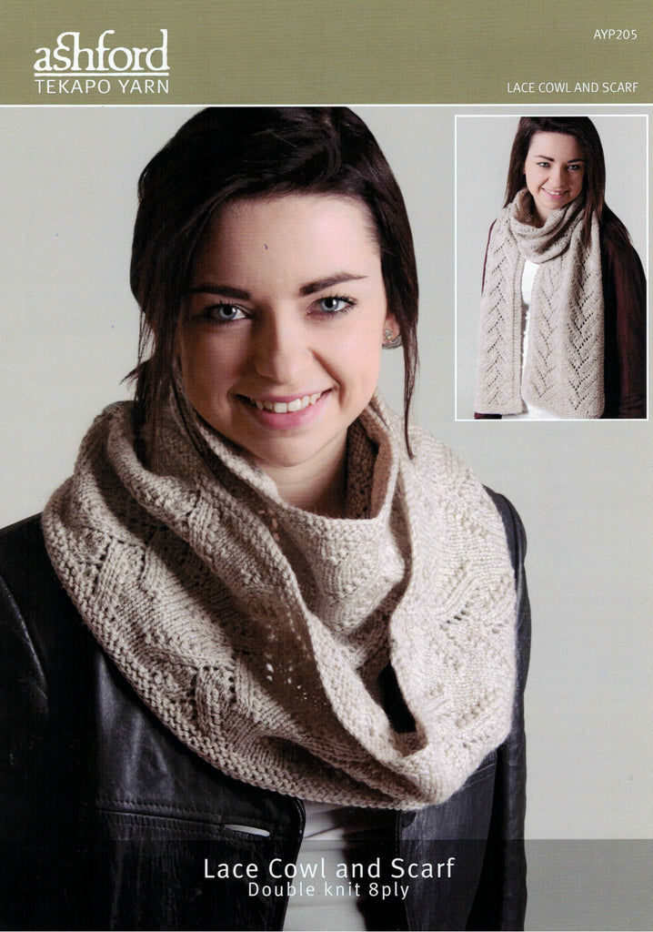 Ashford Tekapo Pattern - Lace Cowl and Scarf 8-ply