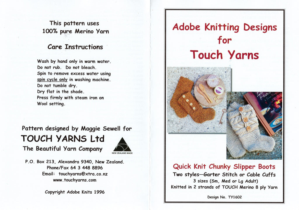 Adobe Knitting Pattern - Adult's Quick Knit Chunky Slipper Boots