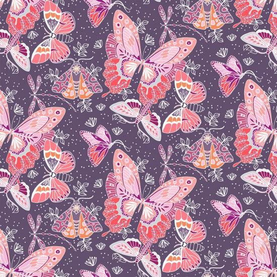 Aerial Butterflies - Stunning pick and coral butterflies on Purple Background