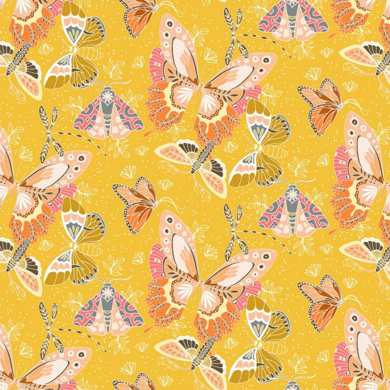 Aerial Butterflies - Stunning pink and coral butterflies on Yellow Background